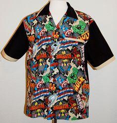 Marvel Heros print mens bowling style shirt by DaleRaeDesigns