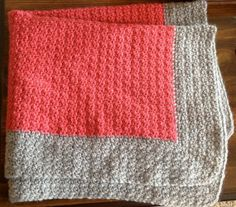 Coral Crochet Blanket with Gray Border