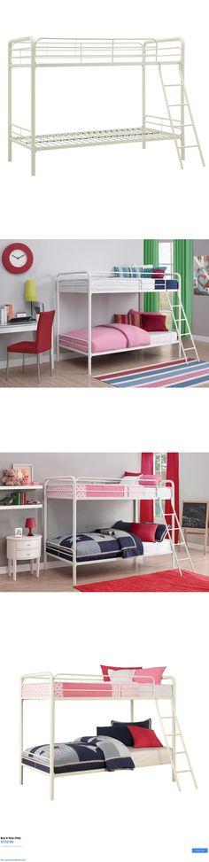 Kids Furniture: Metal Bunk Bed Twin Over Twin Bunkbeds Teens Kids Dorm Ladder Furniture White BUY IT NOW ONLY: $132.95 #priceabateKidsFurniture OR #priceabate