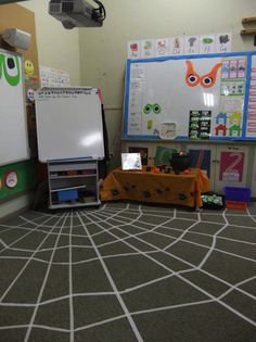 classroom, galvin learn, idea, halloween spiderweb, school, rug, spider webs, floor, masking tape