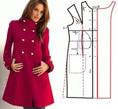 Saco Sewing Blouses, Pattern Fashion, Sewing Hacks, Sewing Patterns Free, Clothing Patterns, Coat Patterns, Sewing Coat, Love Sewing, Techniques Couture