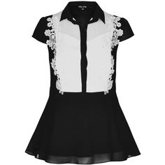 City Chic Applique Lace Shirt ($69) ❤ liked on Polyvore featuring tops