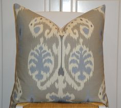 Decorative Pillow Cover  IKAT Blue  Grey  by TurquoiseTumbleweed, $39.00