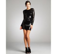 French Connection black sequined long sleeve mini party dress