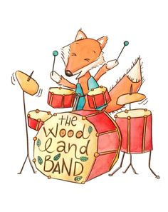 Fox Playing Drums - Kim Fleming Illustration