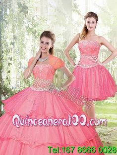Detachable 2015 Most Popular Beading and Ruffled Layers Sweet 15 Dresses in Hot Pink