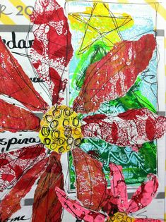 Torn printed papers used to make poinsettia flowers   in No Excuses Journal.