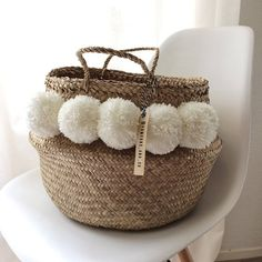 Items similar to Basket Thai medium with white PomPoms on Etsy Diy And Crafts, Kids Crafts, Boho Dekor, Diy Sac, Pom Pom Crafts, Basket Bag, Boho Diy, Summer Bags, Wicker Baskets