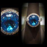 LADIES 14K WHITE GOLD CABECHON/BEAD RING WITH BLUE TOPAZ DIAMONDS