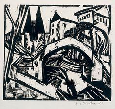 german expressionism woodblock prints | Ernst Ludwig Kirchner: Elisabeth-Ufer (Berlin) 1912-13, woodcut