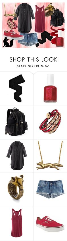 """""""Red Fox"""" by not-by-sight ❤ liked on Polyvore featuring HYD, Essie, Olsenboye, Blu Bijoux, H&M, Vans, denim shorts, backpack, vans and vest"""
