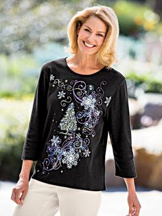 Print Three-Quarter Length Sleeve Tee - <p> There's nothing more comfortable than a soft rib knit tee. This pretty version has three-quarter length sleeves and detailed seasonal prin