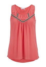 gauze embroidered tunic tank with keyhole - maurices.com