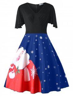 68c01fb06f37d Chaofanjiancai Fashion Womens Plus Size Christmas Santa Claus V-Neck Short  Sleeve Party Vintage Swing Dress