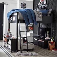 Hampton Convertible Loft Bed With Cushy Loveseat Boys Bedroom Decor, Room Ideas Bedroom, Bedroom Loft, Girls Bedroom, Attic Bedrooms, Teen Boy Bedding, Teen Boy Rooms, Kids Rooms, Boys Loft Beds