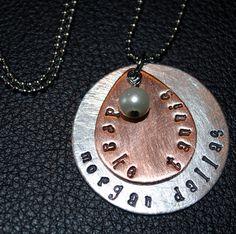 Tear Drop Metal Hand Stamped Necklace. My children and grandchildren!