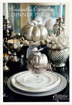 A Cinderella Inspired Elegant Halloween Dinner Party {Silver Pumpkin Decor}   Celebrating everyday life with Jennifer Carroll