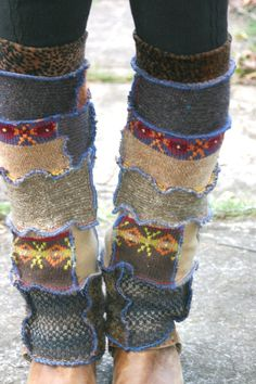 Upcycled Reconstructed Patchwork Sweater Leg Warmers