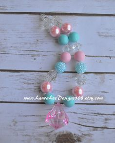 Pink Aqua and Clear Bubblegum Necklace Photo by LauraLeeDesigns108
