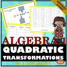 Quadratic Functions Transformations Cut & Paste Activity