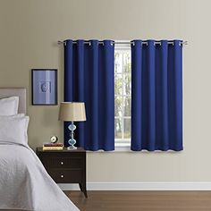 Luxury Homes Grommet Ring Top Blackout Curtains with Matching Tiebacks, Set of 2 Panels (52 x 63 Inch, Navy Blue) ** Find out more about the great product at the image link.