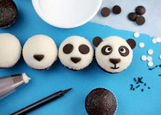 Here is a fun way to decorate cupcakes to look like panda bears, courtesy of Bakerella. (Bakerella) Ingredients to make mini cupcakes: cupcake mix – for as many cupcakes as you want or nee… Cupcakes Au Cholocat, Panda Cupcakes, Cute Cupcakes, Cupcake Cookies, Amazing Cupcakes, Delicious Cupcakes, Cute Food, Yummy Food, Bolo Panda