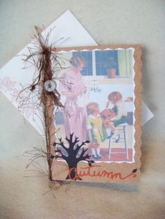 Autumn 1923 Carving the Pumpkin Card by TraceyAnns on Etsy, $4.25