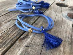 Μια ιδιαίτερη σειρά χειροποίητων μαρτυρικών με σχέδια που ξεχωρίζουν και ονομασίες ελληνικών νησιών.  Μαρτυρικό βάπτισης βραχιόλι για τον καρπό με δυνατότητα αυξομείωσης από τη σειρά ΠΑΤΜΟΣ από δέρμα τύπου σουέντ σε χρώμα μπλε Σαντορίνης με 2 σειρές, μπλε ρουά φούντα, μινιόν μπλε ρουά κρεμαστό ματόχτανρο και περαστό σταυρουδάκι σε χρυσό χρώμα. Διατίθεται σε συσκευασία των 50 τεμ. Christening, Bracelets, Jewelry, Jewlery, Jewerly, Schmuck, Jewels, Jewelery, Bracelet
