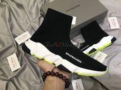 Giày Balenciaga Speed Trainer Black White Chartreuse Rep 1:1 Balenciaga Speed Trainer, Trainers, Adidas Sneakers, Black And White, Shopping, Shoes, Fashion, Tennis, Moda