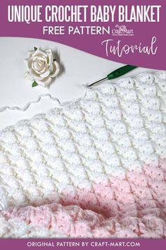 Crochet Baby Blanket Tutorial, Free Baby Blanket Patterns, Crochet Baby Blanket Free Pattern, Crochet For Beginners Blanket, Afghan Crochet Patterns, Unique Crochet Stitches, Crochet Baby Shawl, Booties Crochet, Crochet Cluster Stitch
