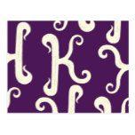 Cool K monogram pattern - purple background Postcard #weddinginspiration #wedding #weddinginvitions #weddingideas #bride