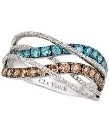 Le Vian Exotics® Chocolate and Blue Diamond Ring (1- 1/3 ct. t.w.) in 14k White Gold