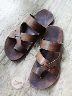 a58f320b23c Handmade Brown Leather Sandals Mens Sandals Womens Sandals
