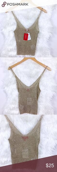 "GUESS Gold Metallic Crochet Cropped Tank GUESS gold metallic crochet cropped tank  Size small- bust 14"" length 16"" Brand new with tags with a few pulls due to storage that blend in to the shirts design 100% cotton Guess Tops Tank Tops"
