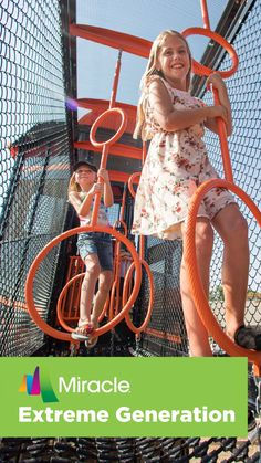 The Miracle® Recreation line of Extreme Generation playground equipment is a towering achievement in playground excitement! With its rope-course-inspired events, skyscraping towers and fully enclosed skyways, the XGEN extreme playground gives today's kids the extreme physical challenges they demand, safely providing the perceived risk that keeps them coming back for more high-flying thrills.