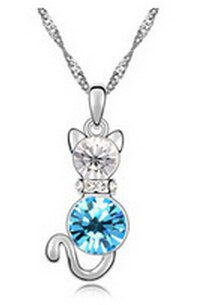 Cute Cat Kitty Crystal Rhinsetone Silver Blue by MaahRoseJewellery