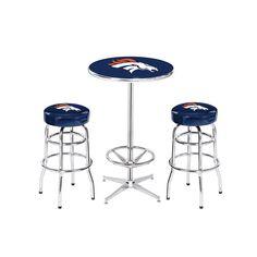 Denver Broncos NFL Pub Table and Barstool Set (3 Piece Set)