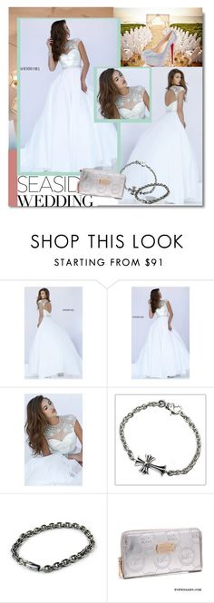 """Cap Sleeves Sherri Hill 50084 White Beads Wedding Dress"" by evermissjody ❤ liked on Polyvore featuring Sherri Hill, Chrome Hearts and Christian Louboutin"