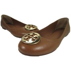 Pre-owned Tory Burch Tan Tumbled Reva Royal Leather Gold Logo... ($118) ❤ liked on Polyvore featuring shoes, flats, tan tumbled, ballerina flats, tory burch shoes, genuine leather shoes, tan flats and tan ballet flats