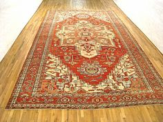 "Persian: Geometric 18' 5"" x 11' 4"" Antique Serapi at Persian Gallery New York - Antique Decorative Carpets & Period Tapestries"