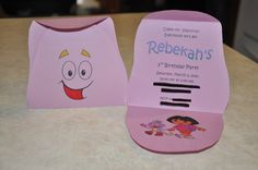 Dora Backpack party invitations