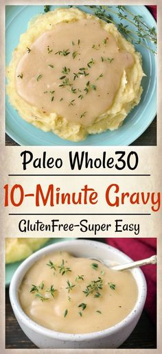 Paleo 10 Minute Gravy is so simple and perfect for topping turkey and mashed potatoes. Made with just 4 ingredients and so flavorful. Dairy free, gluten free, and just as delicious as traditional gravy. Paleo Sauces, Paleo Recipes, Real Food Recipes, Free Recipes, Cooking Recipes, Paleo Food, Skinny Recipes, Paleo Whole 30, Whole 30 Recipes