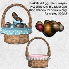 Bunnies, Baskets and Eggs PNG Images