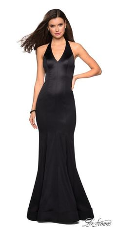 79488d7e2e Backless Halter Fitted Satin Prom Dress by La Femme