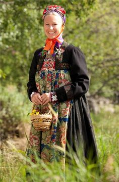 Original and well-used folk dress   from Hallingdal.