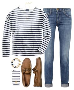 """""""gettin nauti"""" by tabooty ❤ liked on Polyvore featuring Current/Elliott, Saint James, Sperry Top-Sider, Brooks Brothers and Tory Burch"""