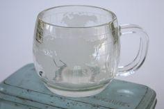 Vintage World Map Glasses, Map Mugs, Travel Theme Kitchen Mug Set of 3 - Etched Map on Glass on Etsy, $12.00