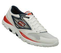 SKECHERS Mens Skechers Go Run Walking Shoes - White/Navy Blue - 11.5