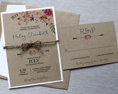 Rustic Wedding Invitation Floral Wedding от LoveofCreating на Etsy