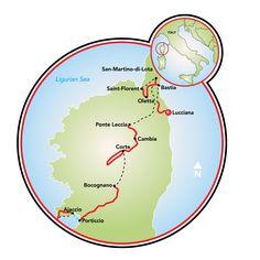 Corsica, a guided e-bike tour Map